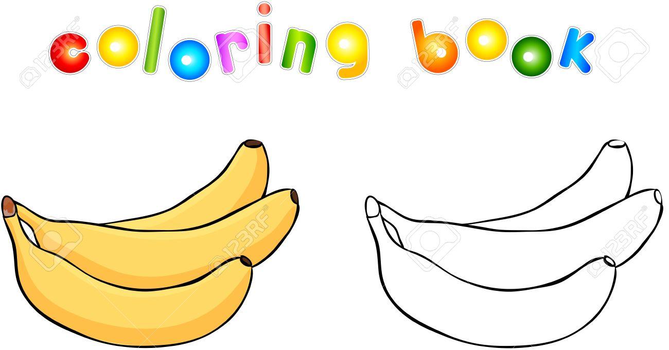 Bananas De Dibujos Animados Para Colorear Ilustración Del Vector Para Los Niños