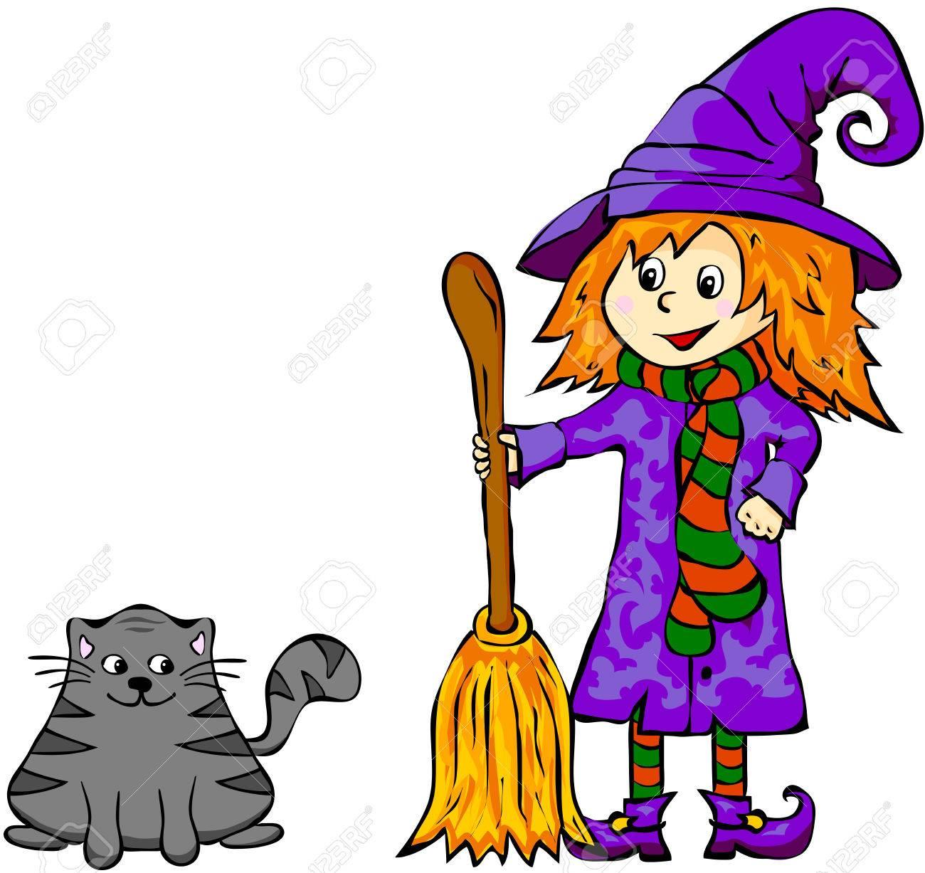 Sorcière Avec Un Chat Noir Illustration De Dessin Animé Drôle Pour Halloween