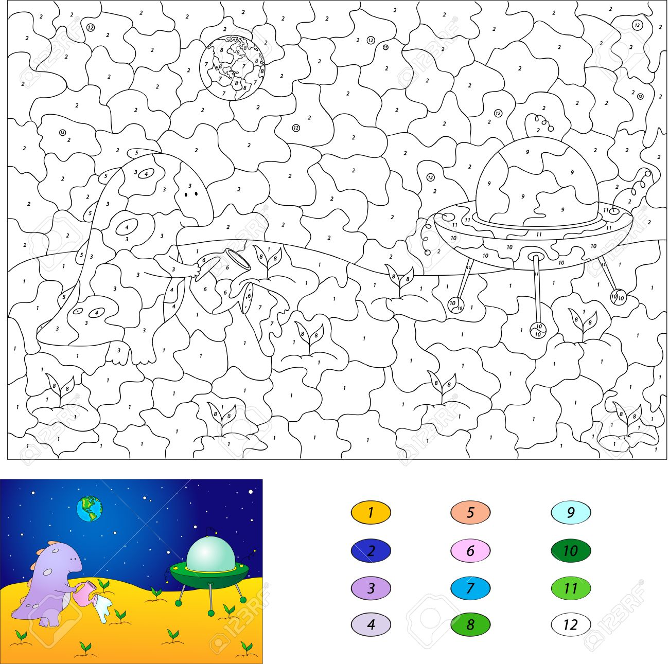 Game color by numbers - Color By Number Educational Game For Kids Purple Dragon Watering Plants On The Moon