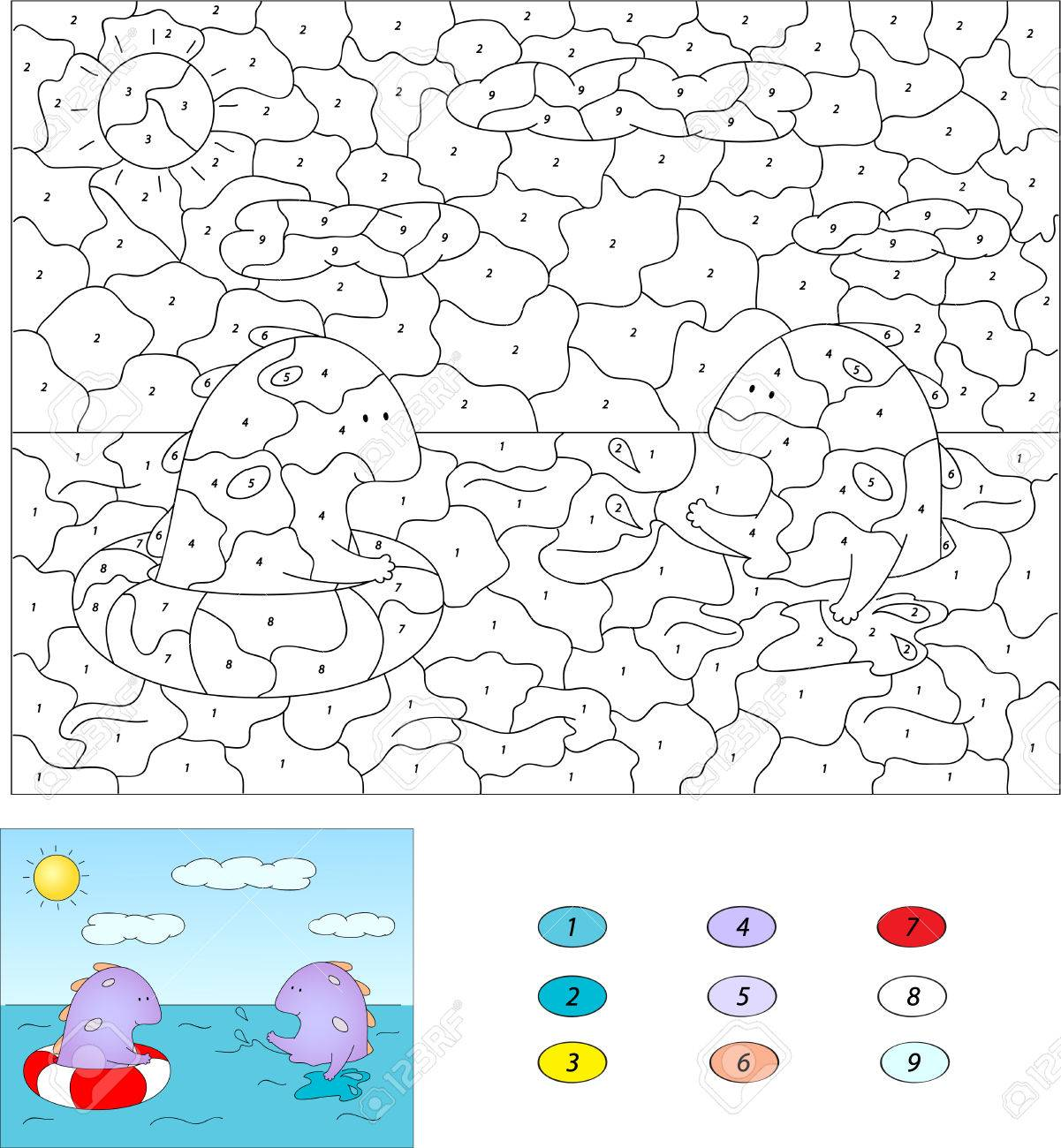color by number educational game for kids purple dragon swiming