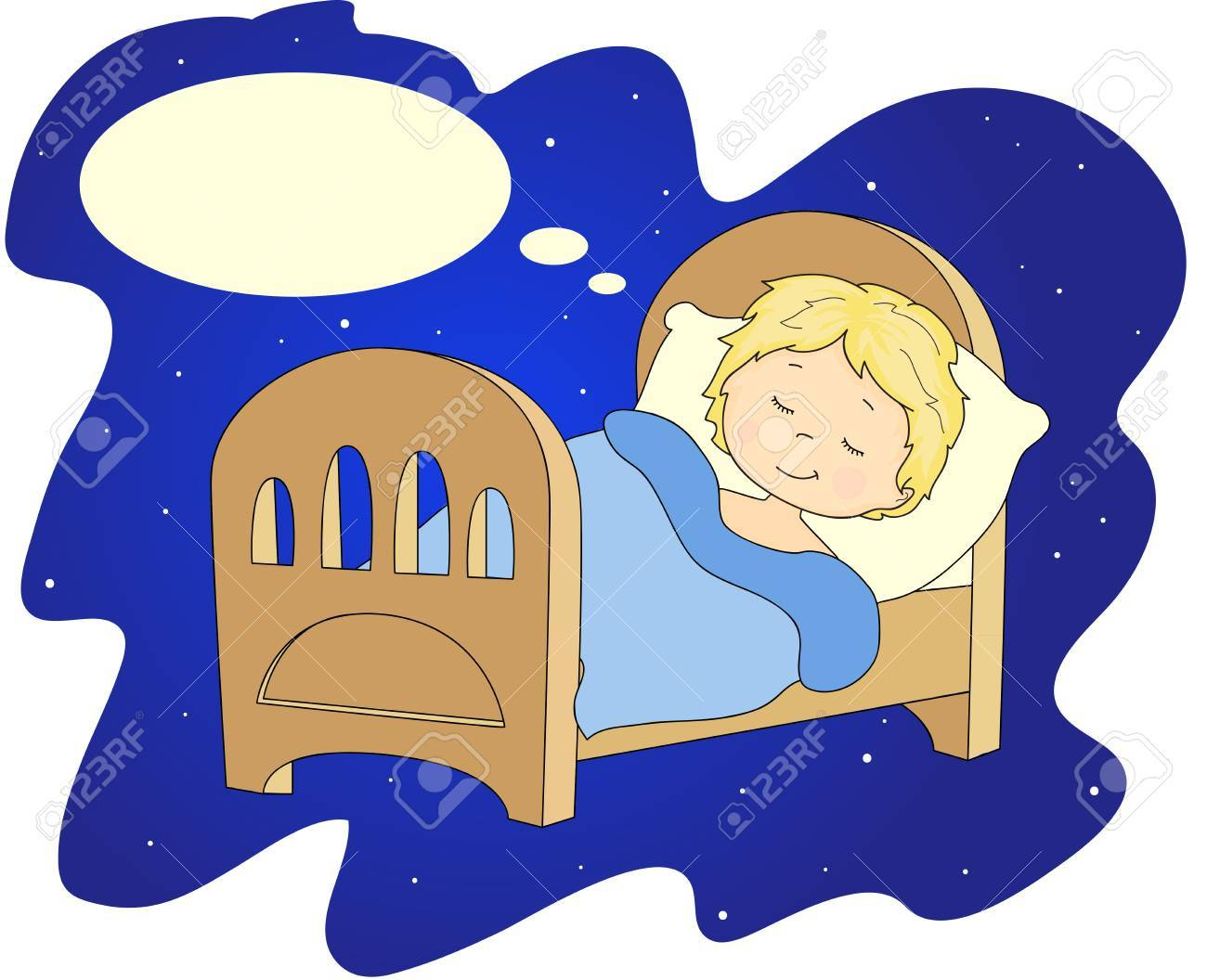 Boy Sleeping On The Bed With A Pillow And Blanket. Vector ... for Pillow And Blanket Clipart  45jwn