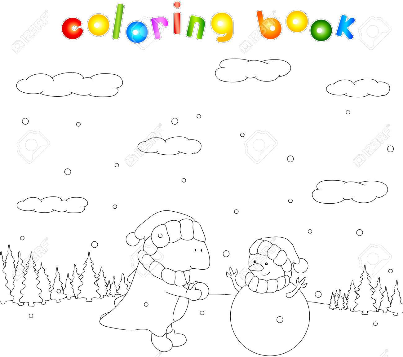 Netter Mollig Drachen Sculpts Schneemann In Einem Verschneiten Wald ...