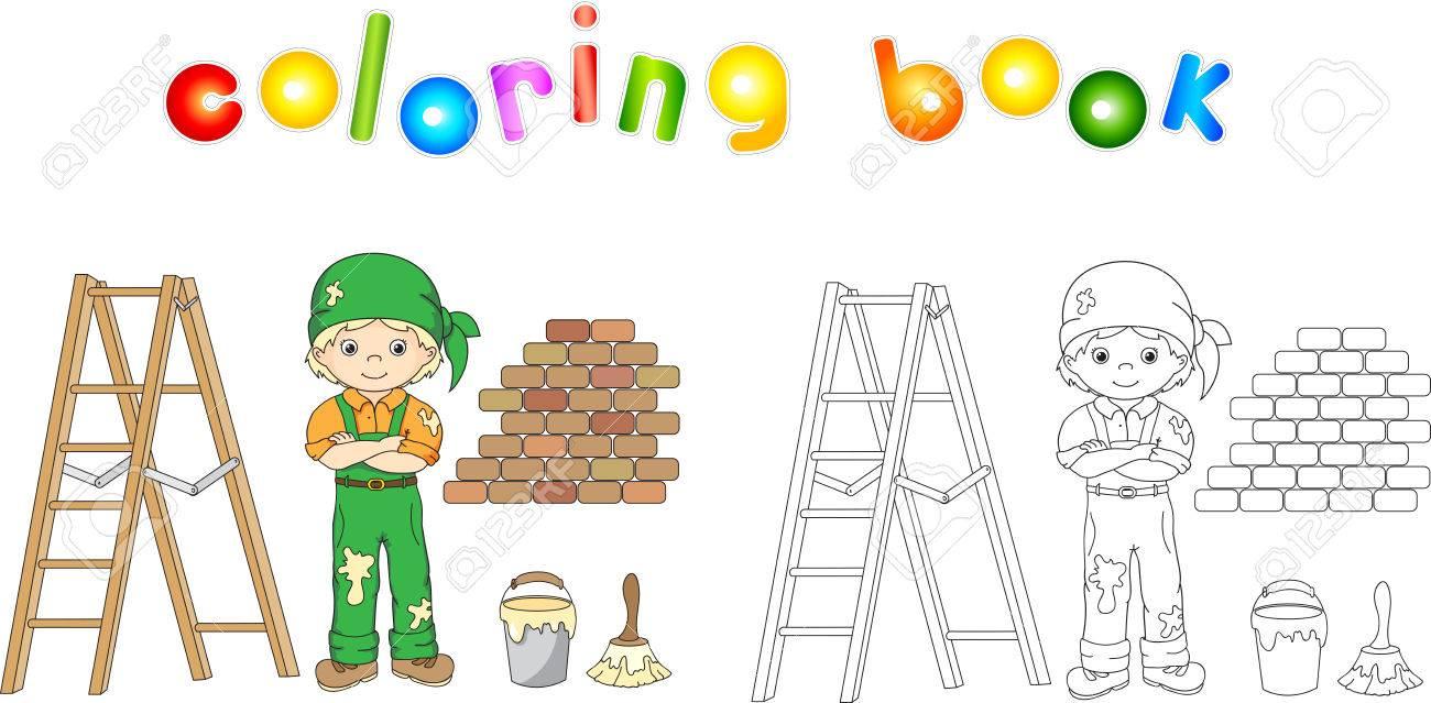 Pintor Con Un Mono Y Pañuelo Escalera Pincel Y El Cubo De Pintura Ilustración Colorear Educativa Para Los Niños