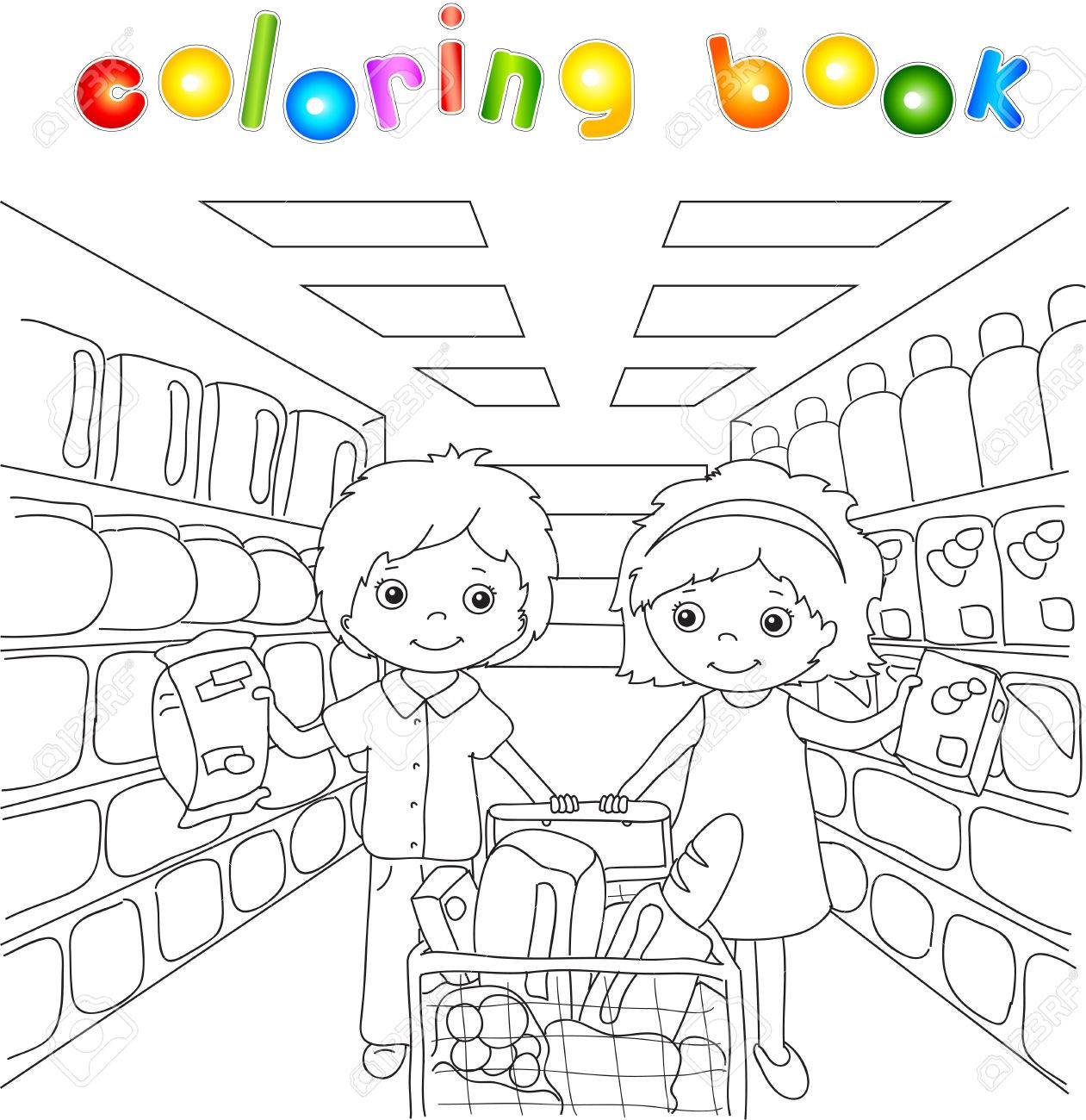A Boy And A Girl Are Shopping In A Store. Coloring Book For Children ...