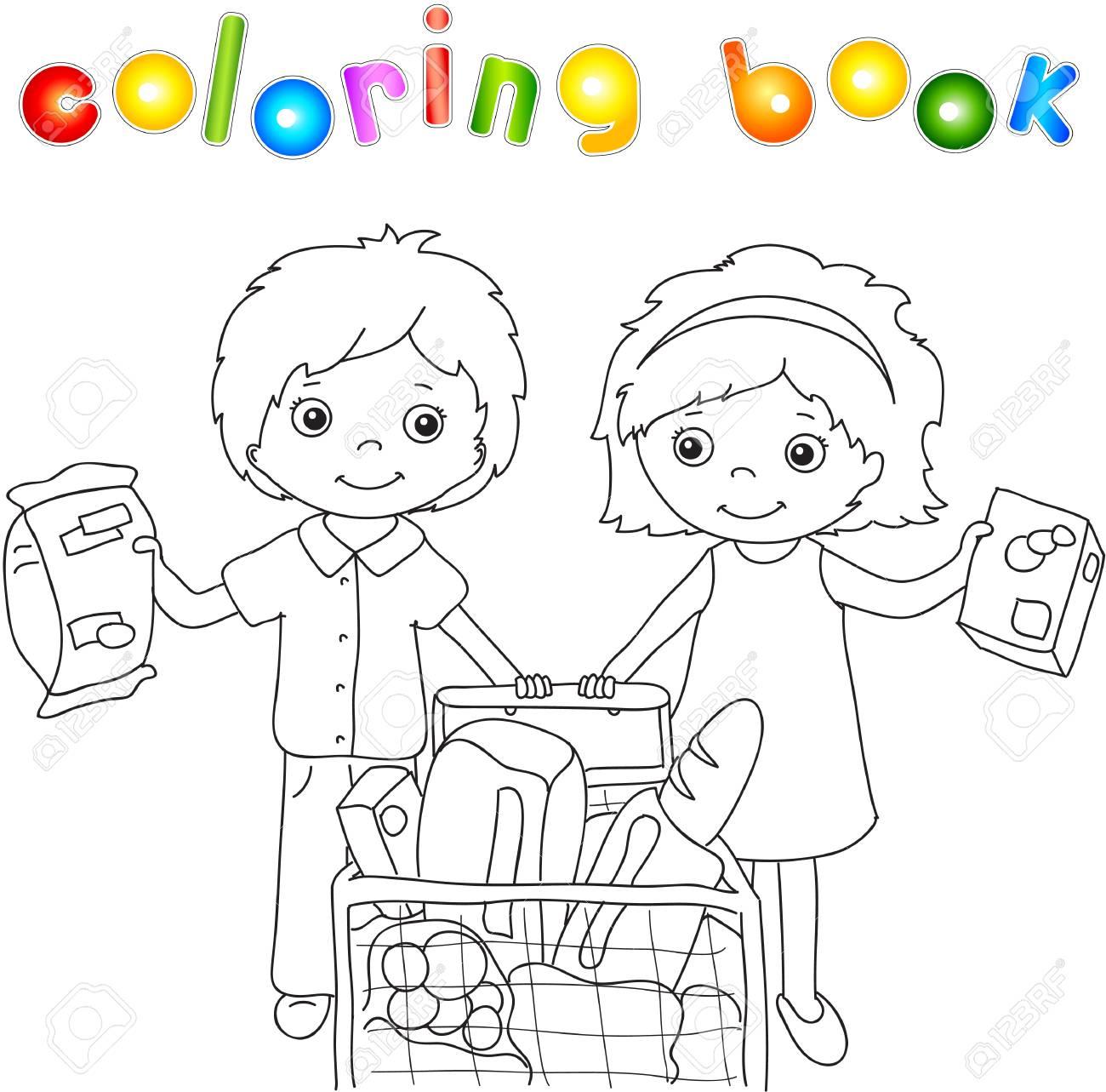Un Muchacho Y Una Muchacha Están Haciendo Compras En Una Tienda Libro Para Colorear Para Los Niños Ilustración