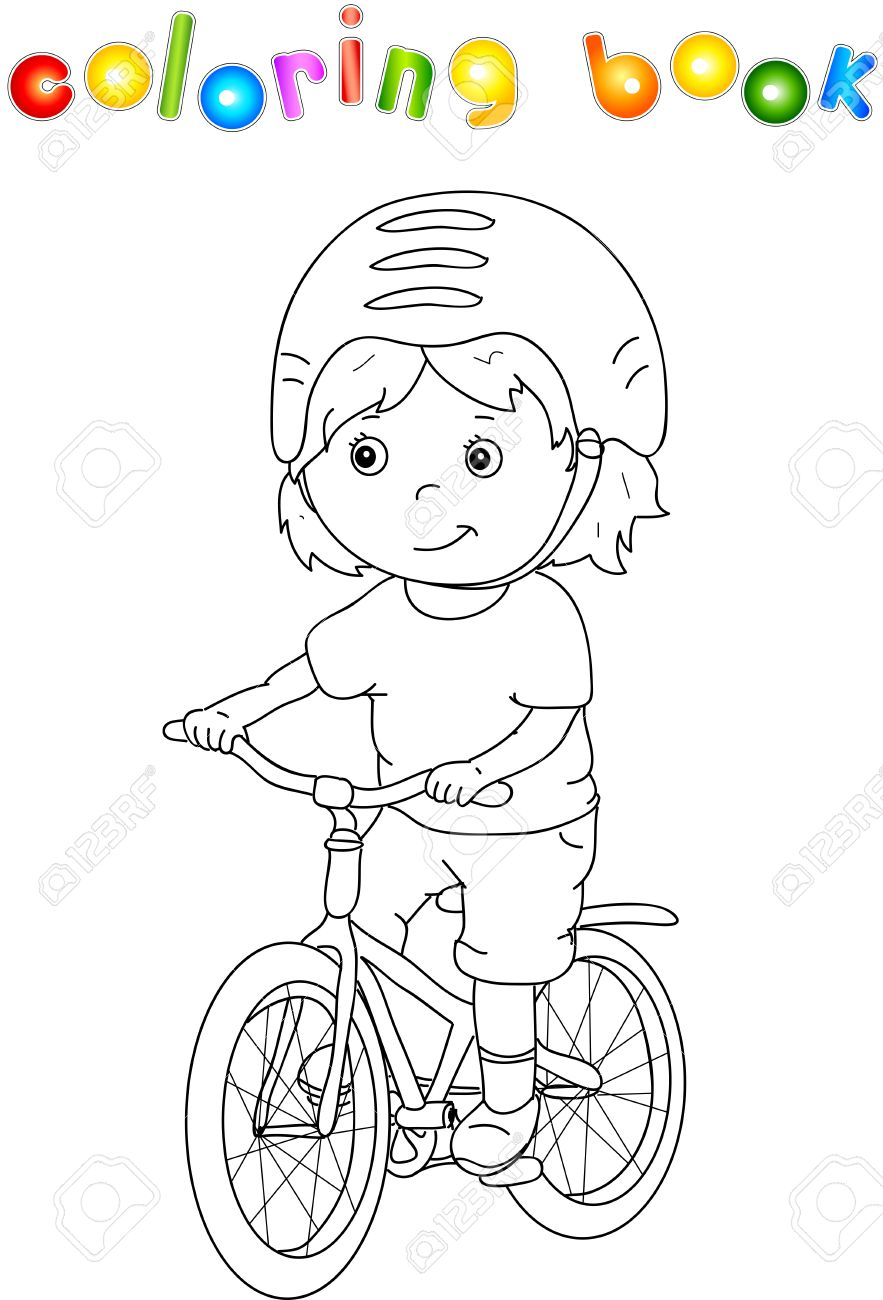 Muchacho Joven Que Monta Una Bicicleta En El Casco Libro Para