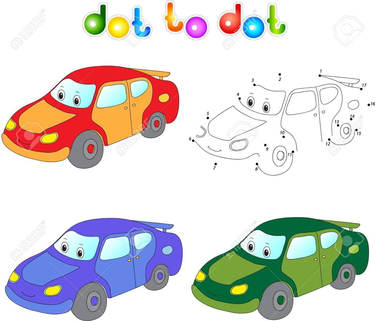 Lustig Cartoon Auto Schliessen Sie Punkte Und Nutzen Sie Bild