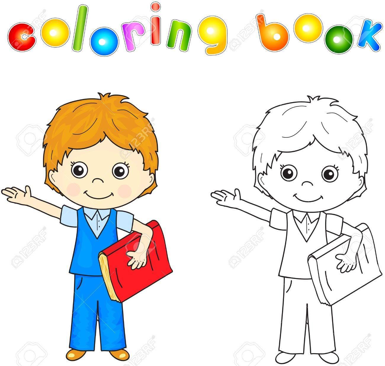 Boy En Uniforme De L Ecole Avec Le Livre Rouge Livre Coloriage Pour Les Enfants