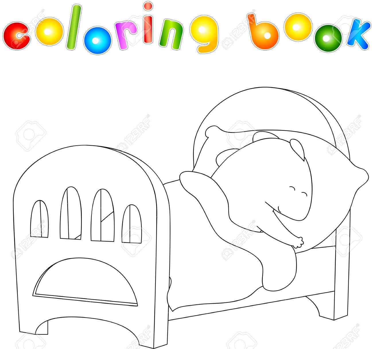 Dragón De Vientre Crummy Está Durmiendo En Su Cuna Colorear Libro Sobre El Estilo De Vida Saludable Para Los Niños