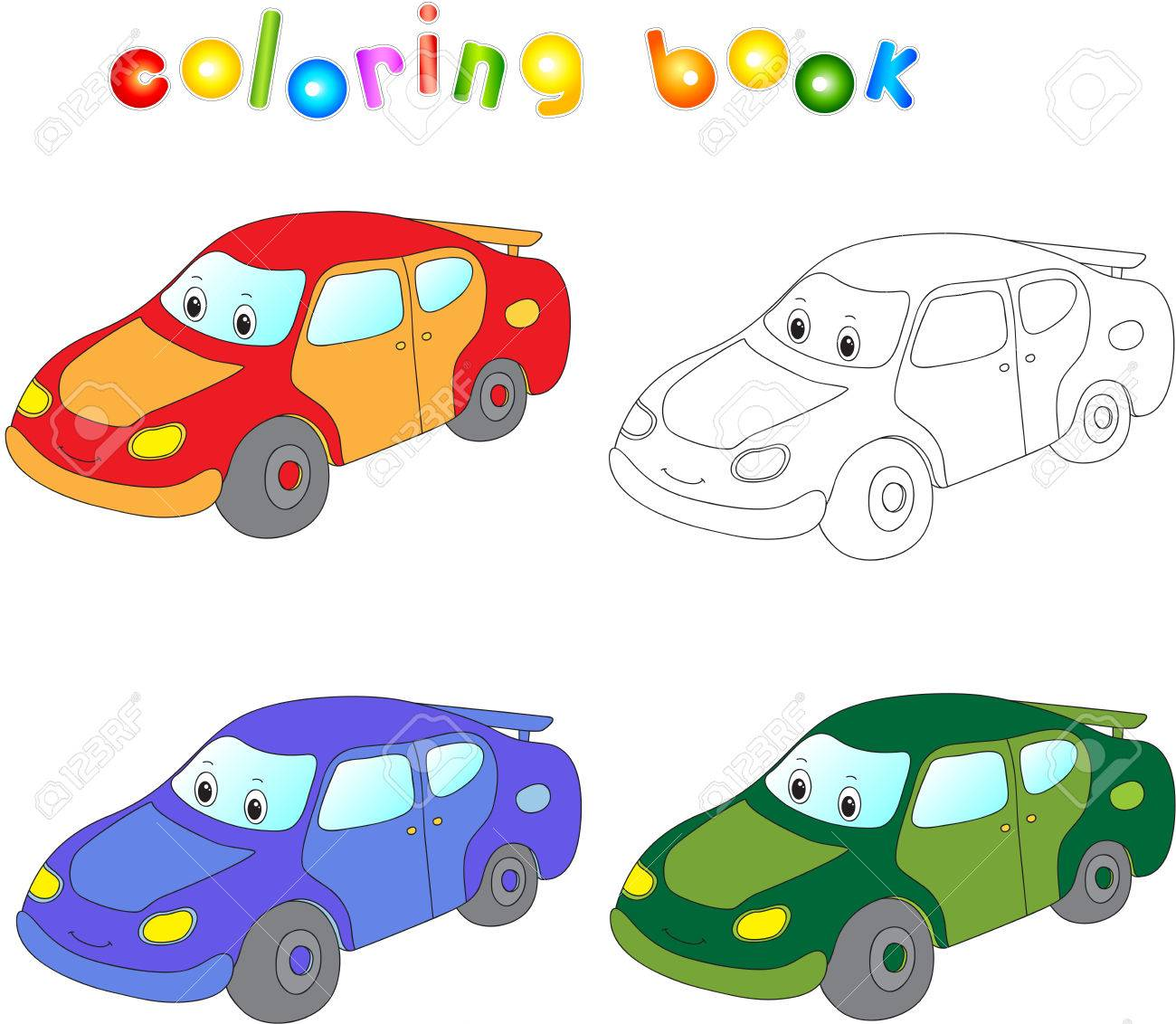 Funny Cartoon Car Coloring Book For Children Stock Photo