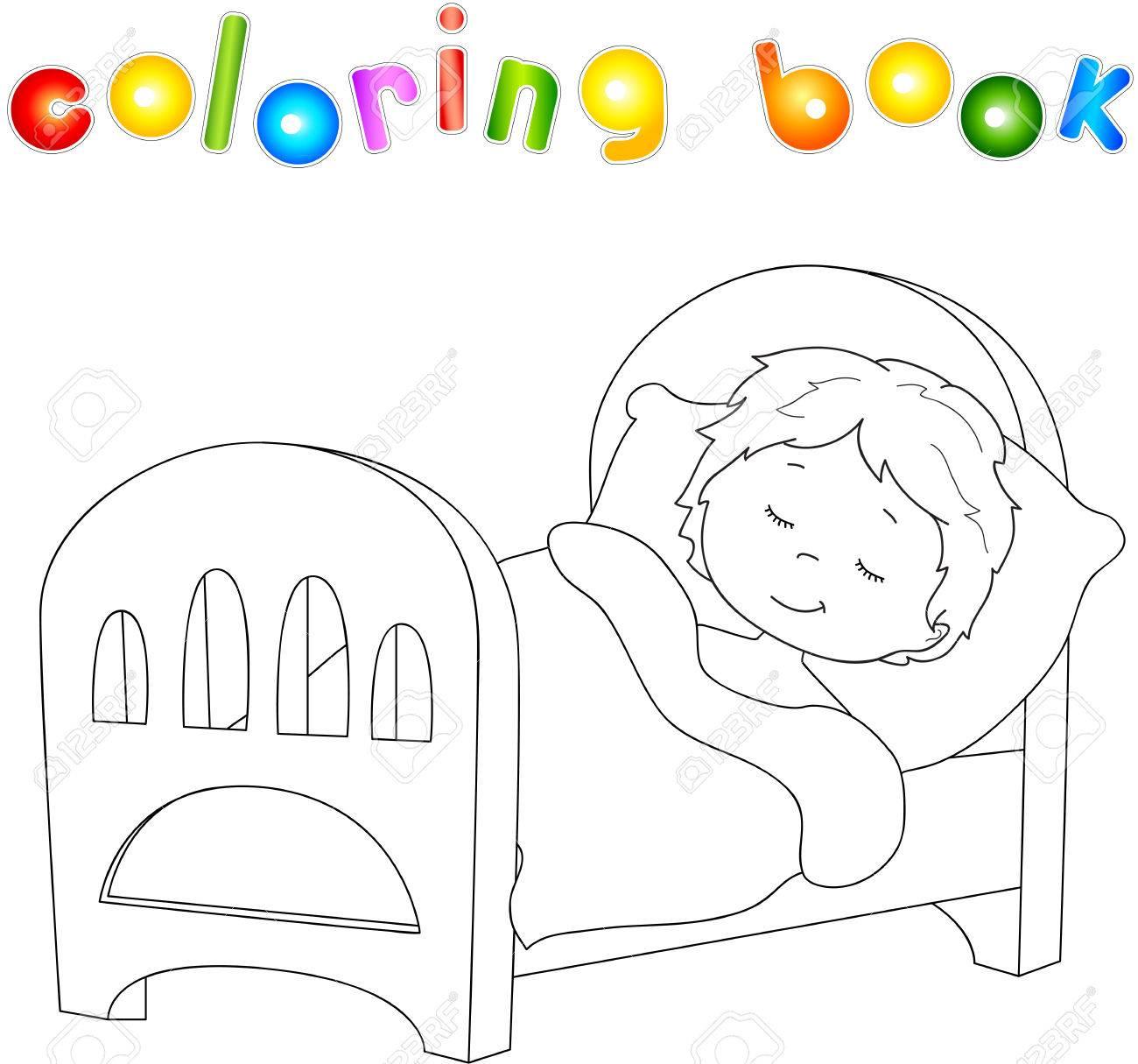 Niño Durmiendo En La Cama Con Una Almohada Y Una Manta Libro De Colorear