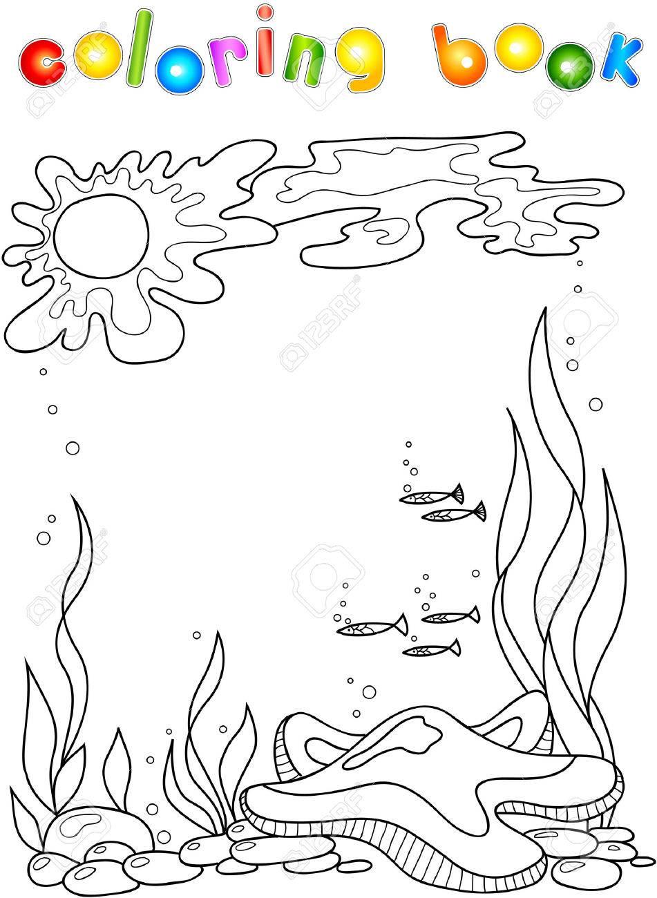 Estrella De Mar En El Océano. Libro Para Colorear Para Los Niños ...