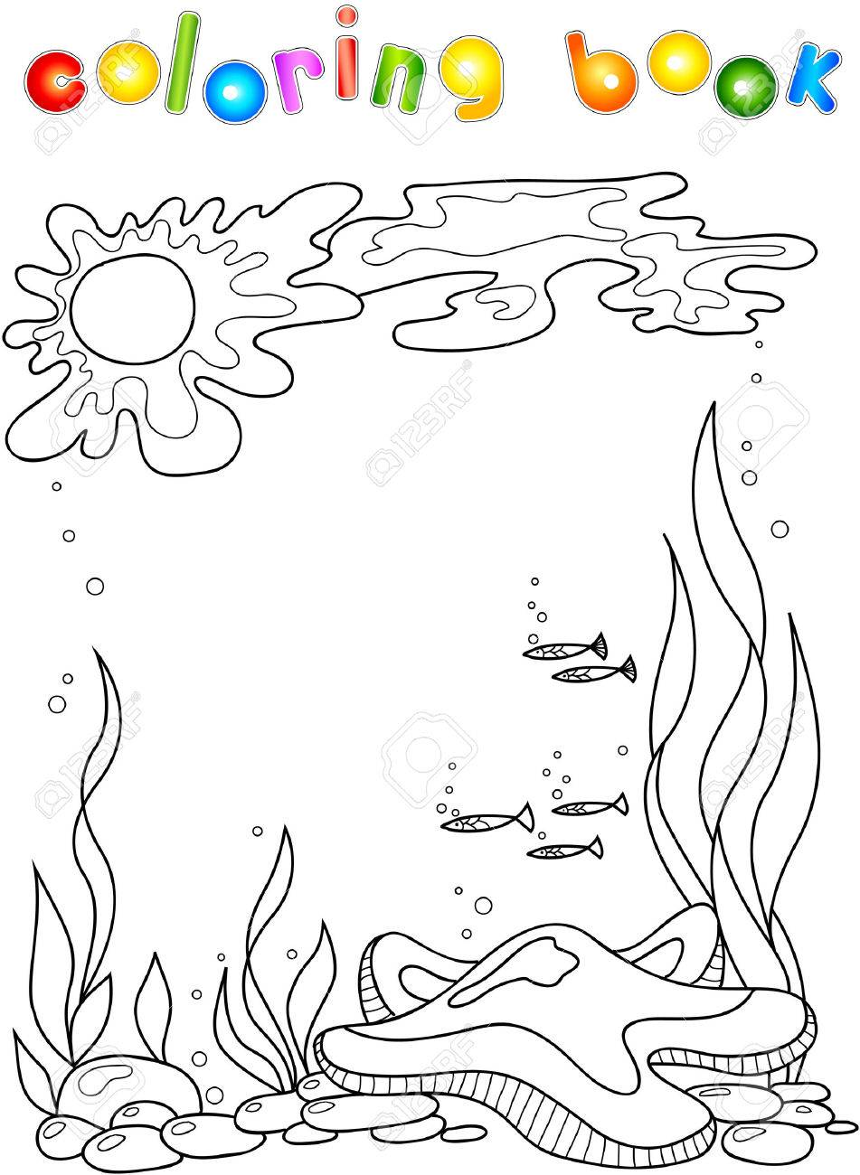 Sea Star In The Ocean. Coloring Book For Children. Stock Photo ...
