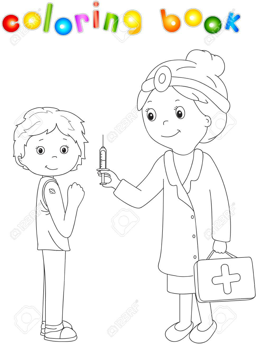 doctor makes vaccination to the patient coloring book for kids