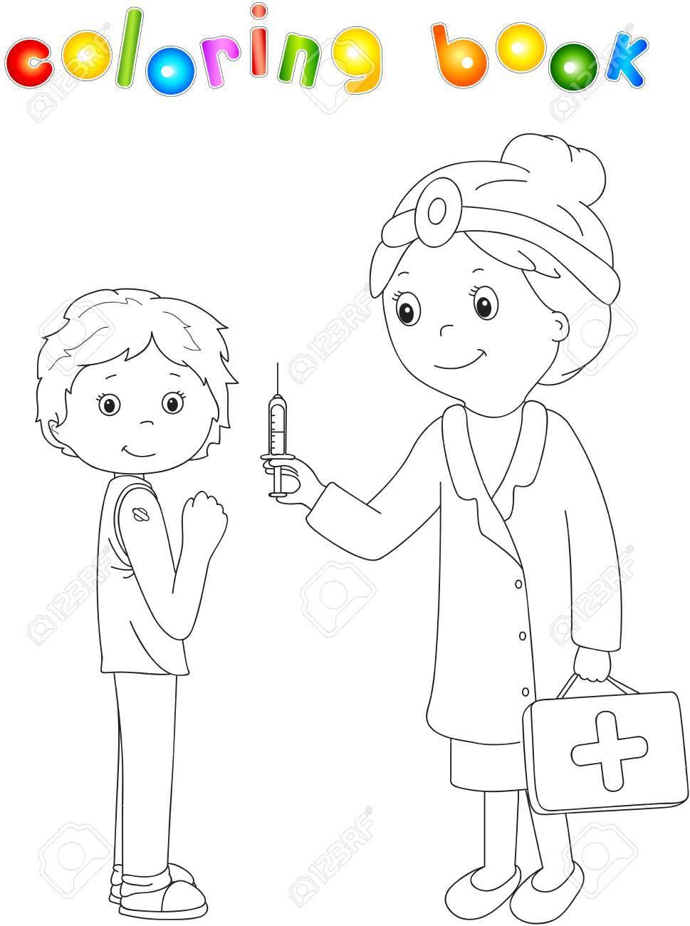 El Doctor Hace La Vacunacion Para El Paciente Libro De Colorante