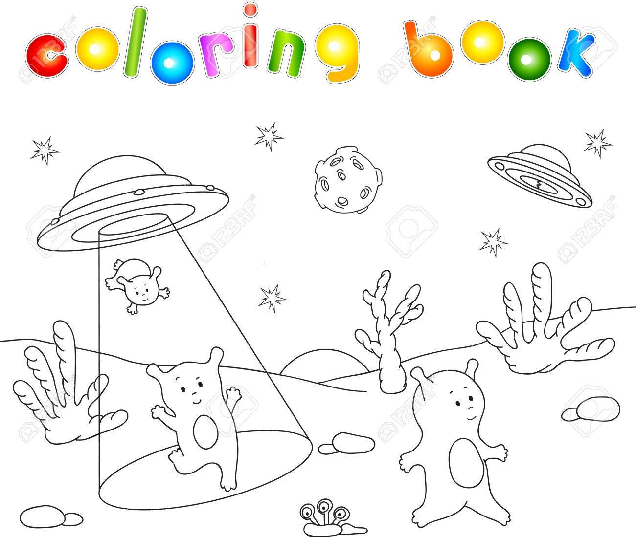 Coloriage Espace Planete.Les Extraterrestres Sympathiques Mignons Atterrissent Sur La Surface