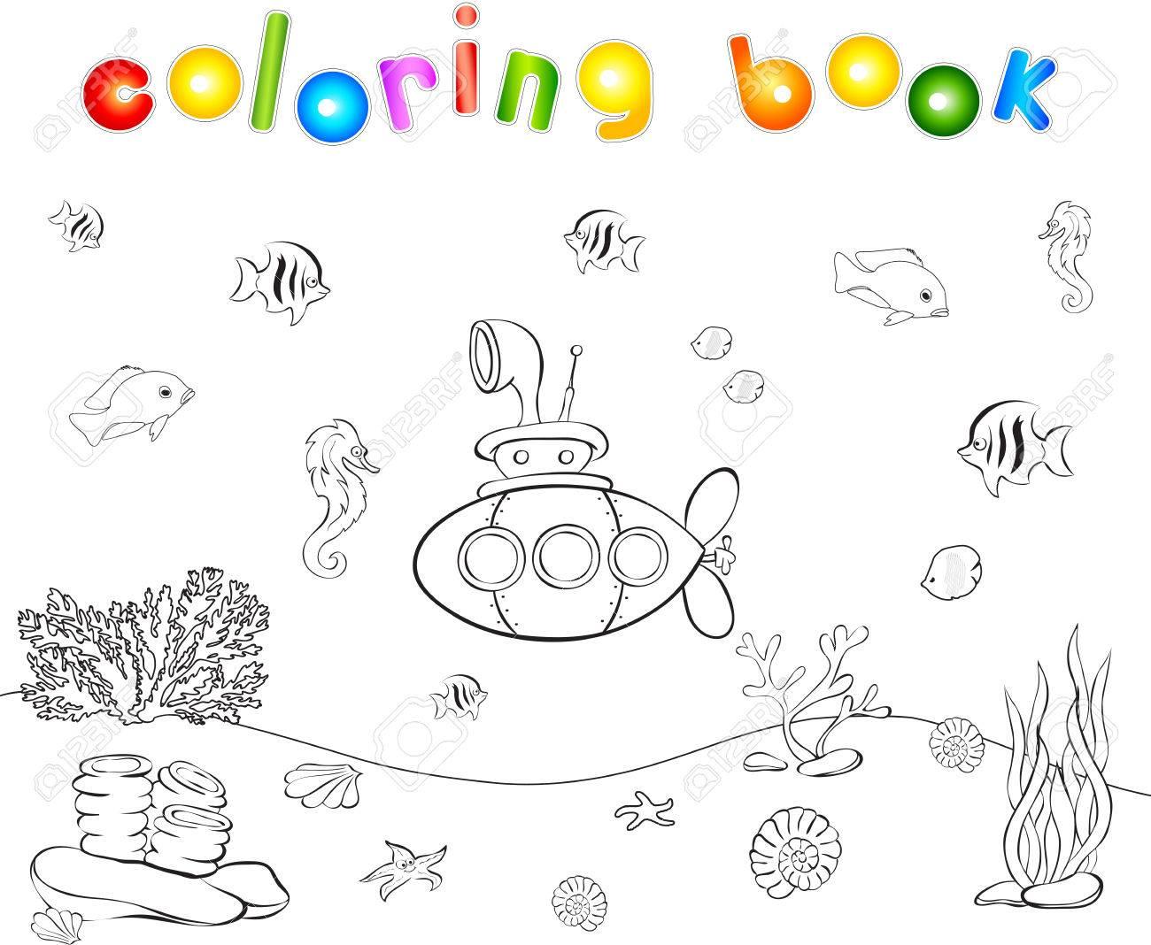 Submarino Y Peces Bajo El Agua Seahorse Medusas Corales Y Estrellas De Mar En El Fondo Del Océano Libro De Colorear Juego Educativo Para Los
