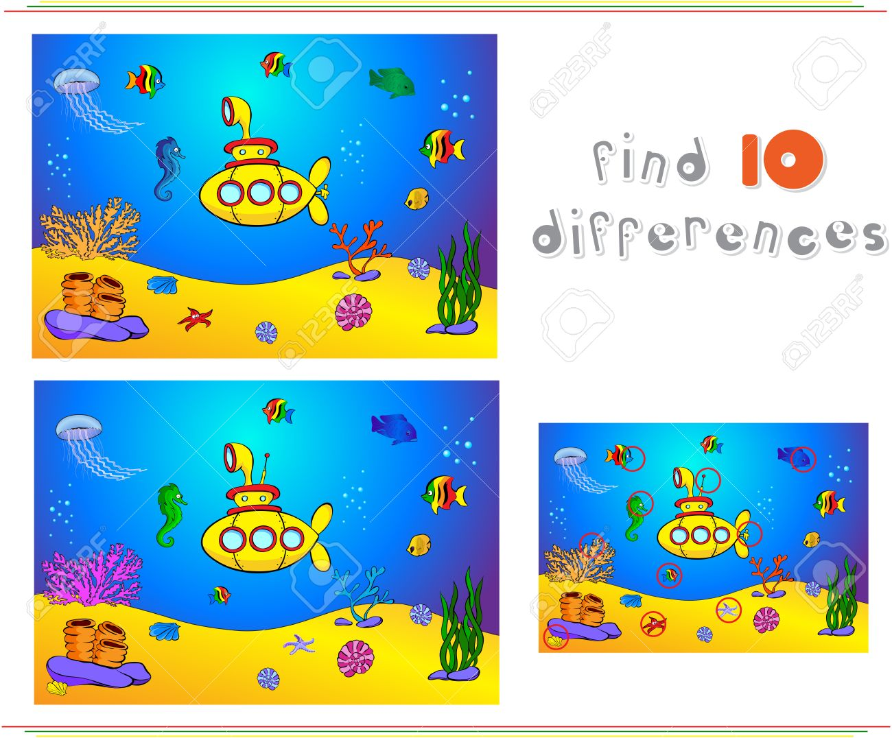 Submarine And Fish Under Water. Seahorse, Jellyfish, Coral And ...
