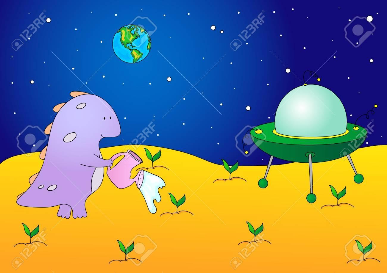 Extranjero Lindo Y Agradable Regar Las Plantas En Su Planeta ...