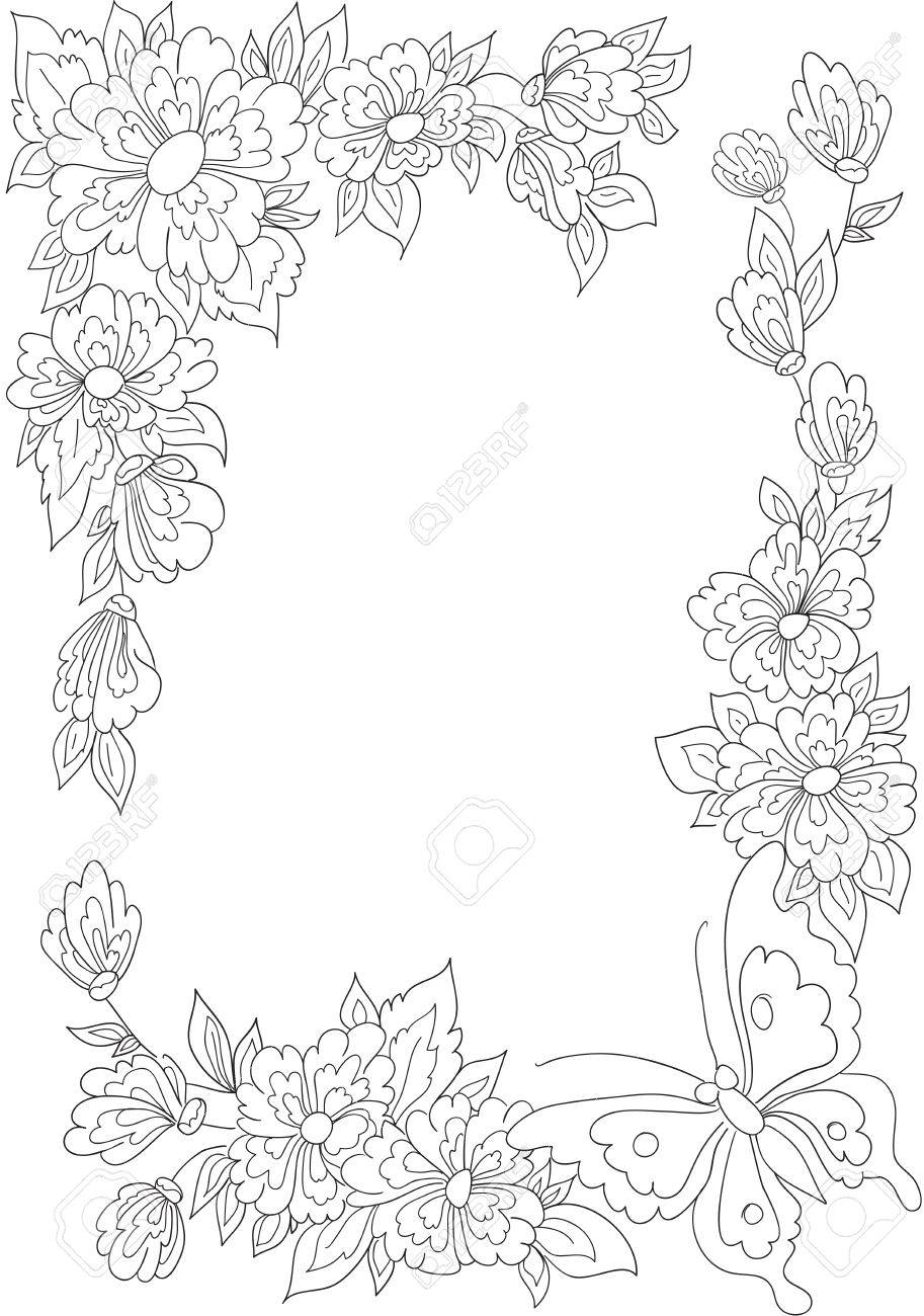 Botanical art coloring book - Botanical Border With Flowers And Leaves Coloring Book Stock Photo 44650832