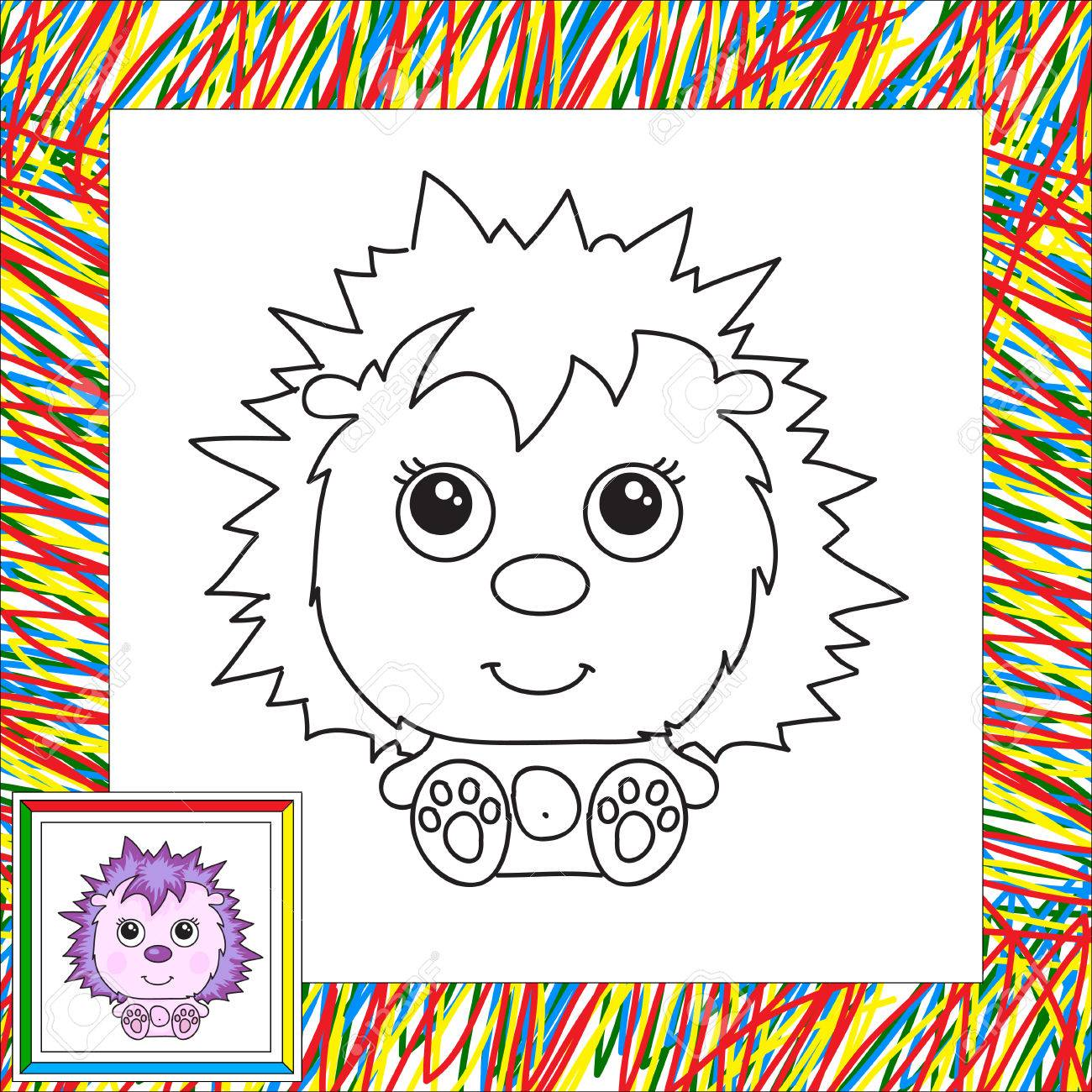 Funny And Cute Hedgehog Vector Illustration For Children Coloring