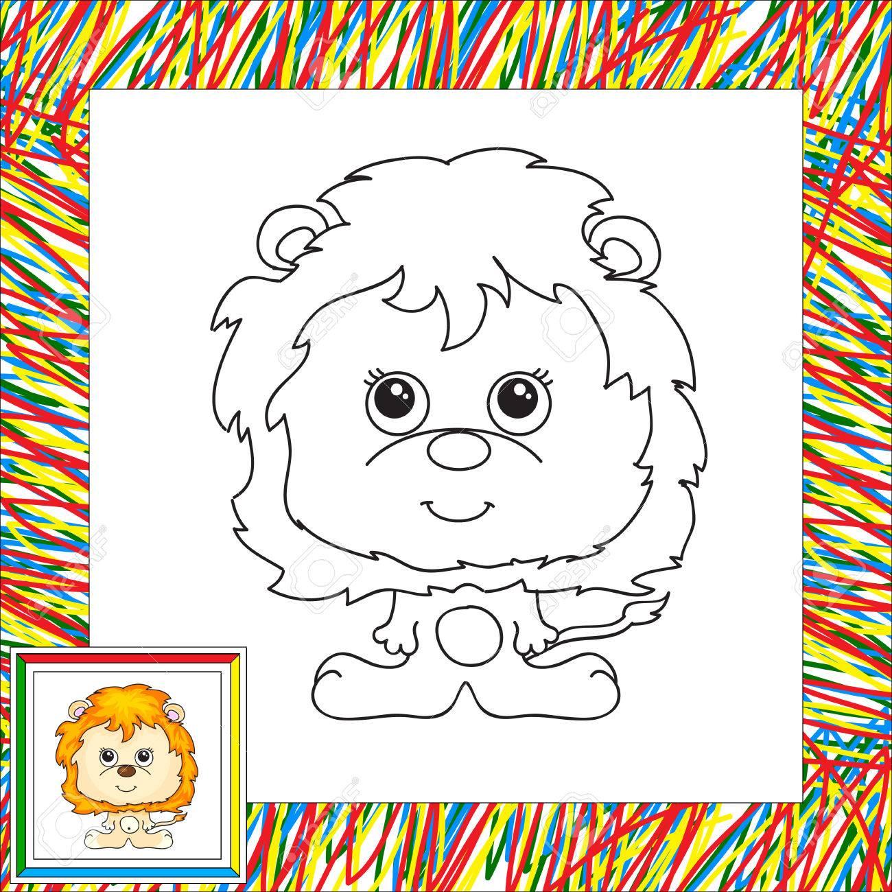 Lustige Cartoon-Löwen. Illustration Für Kinder. Malbuch Für Kinder ...