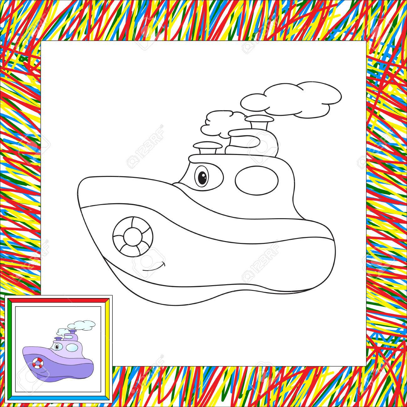 Funny Cartoon Steamship Coloring Book For Children Illustration Stock Vector