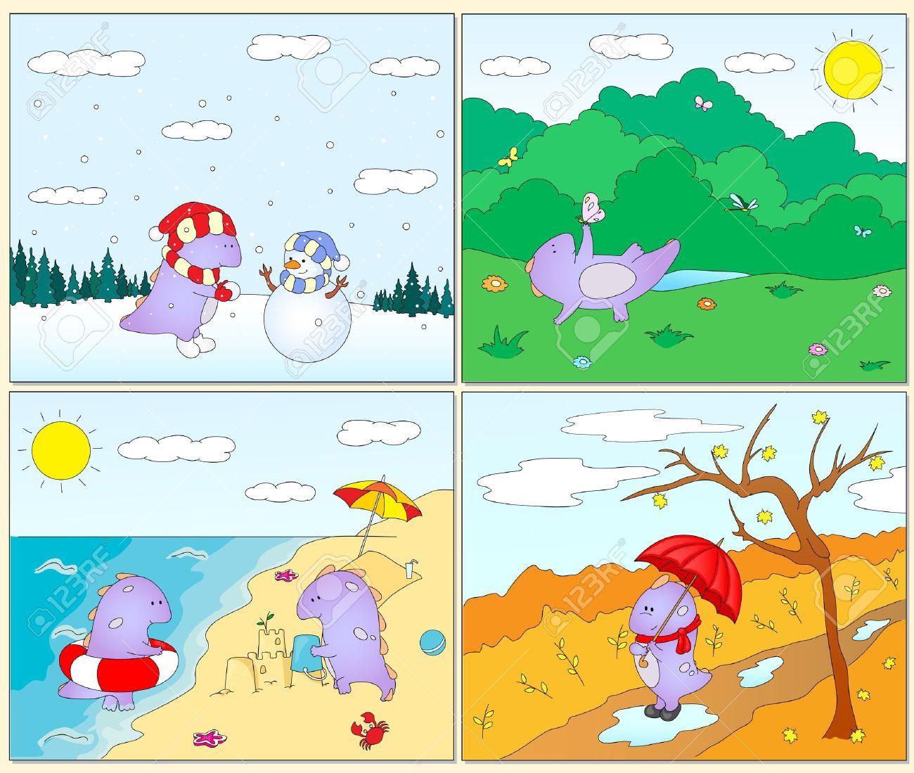 Cuatro Estaciones Invierno Primavera Verano Y Otoño Con El Dragón Púrpura Para Niños Postales De Temporada Ilustración