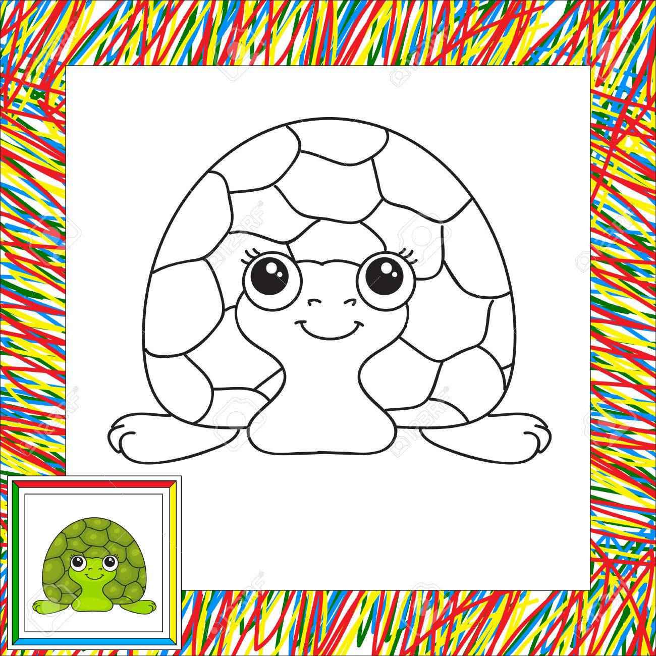 Funny Green Turtle Illustration For Children Coloring Book Kids Stock