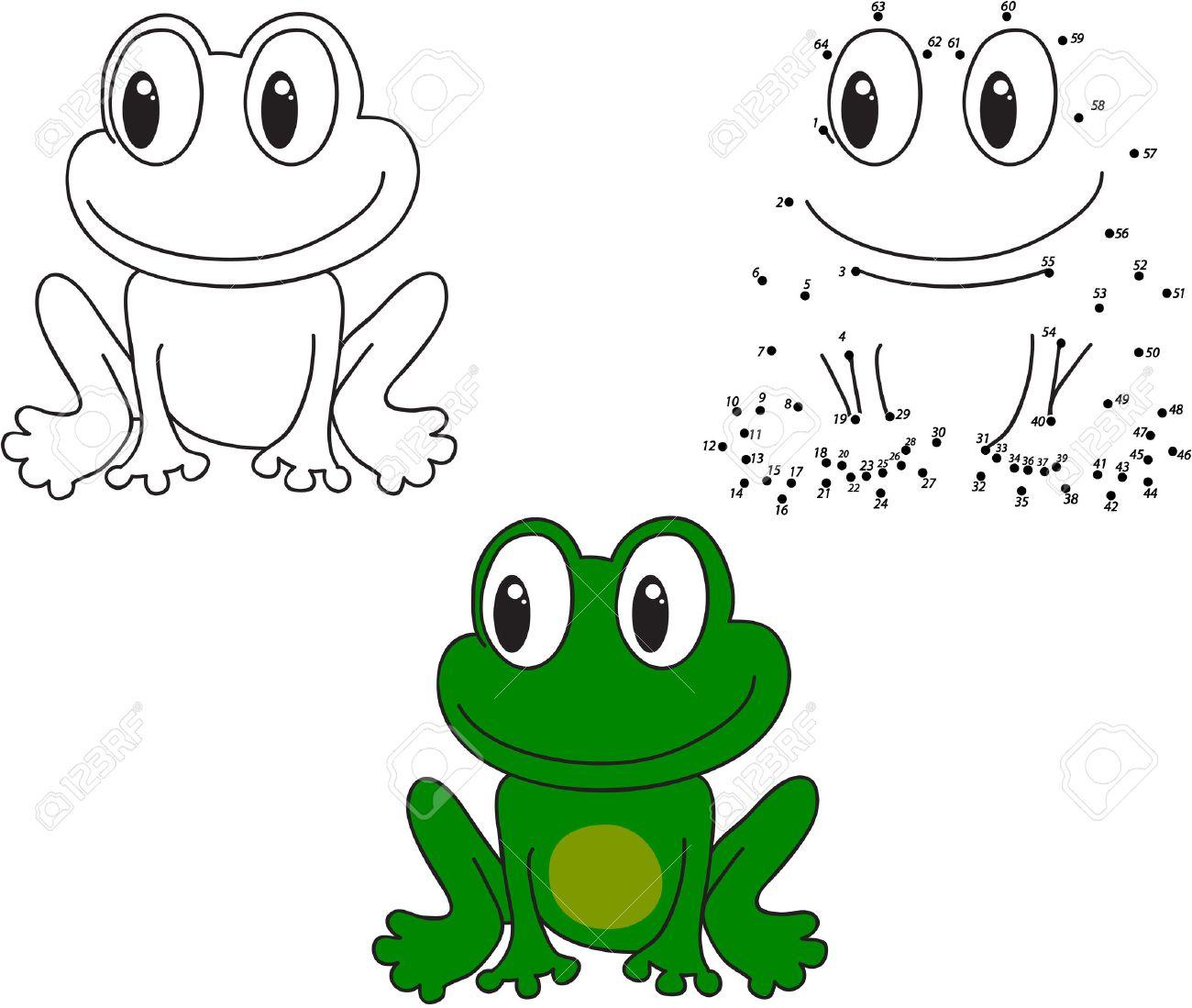 Cartoon Frosch. Färben Und Punkt, Um Lernspiel Für Kinder Punktieren ...