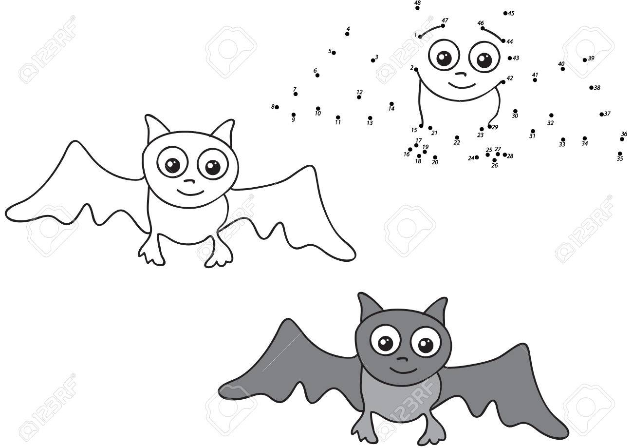 Cartoon Bat Coloring And Dot To Dot Educational Game For Kids
