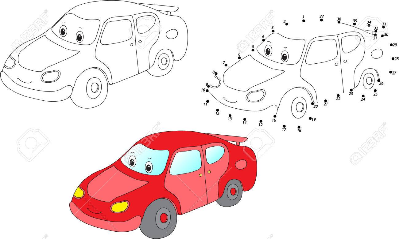 cartoon car coloring and dot to dot educational game for kids