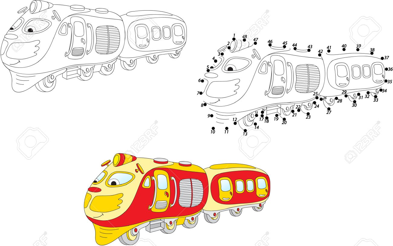 cartoon train coloring and dot to dot educational game for kids