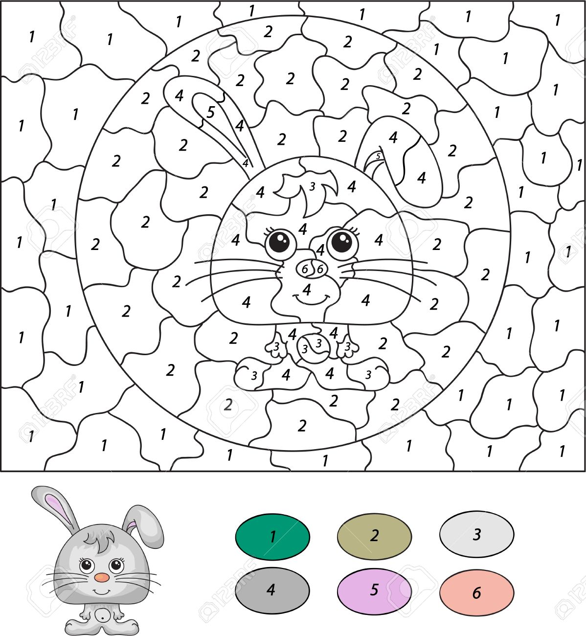 color by number educational game for kids cartoon hare or rabbit