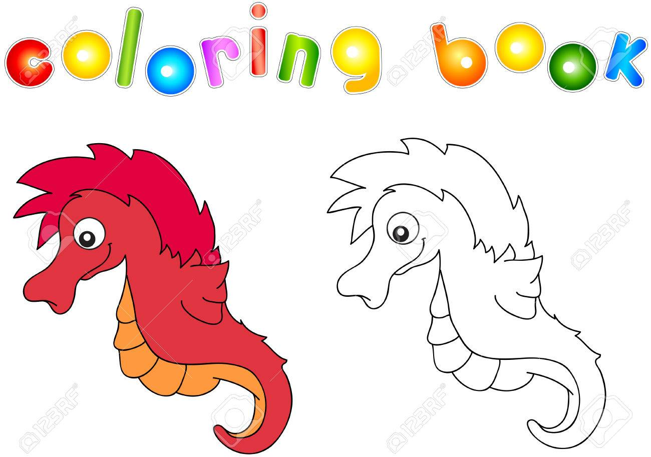 Funny And Friendly Cartoon Seahorse Coloring Book For Kids Royalty Free Cliparts Vectors And Stock Illustration Image 46741903