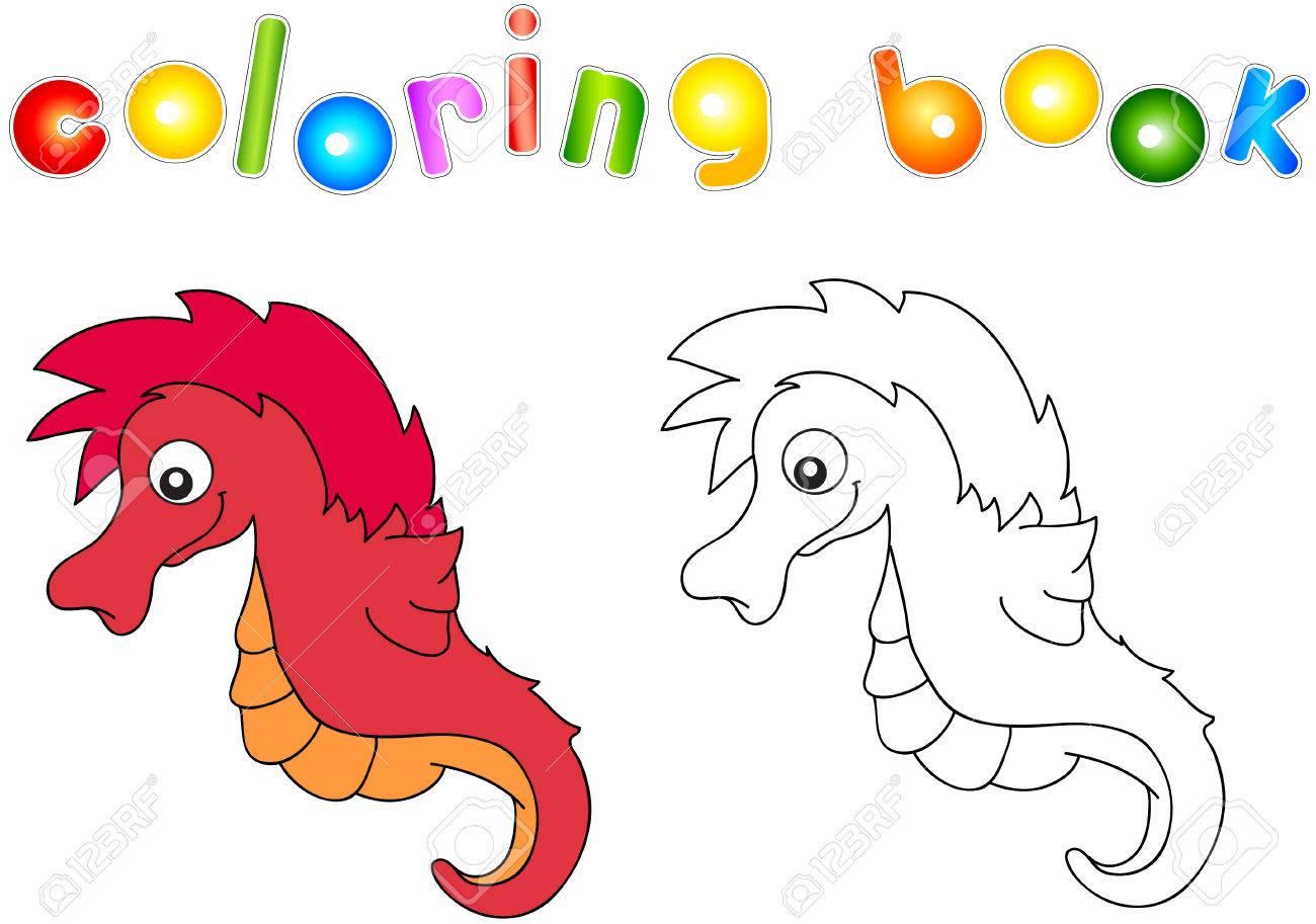 Lustige Und Freundliche Cartoon-Seepferdchen. Malbuch Für Kinder ...