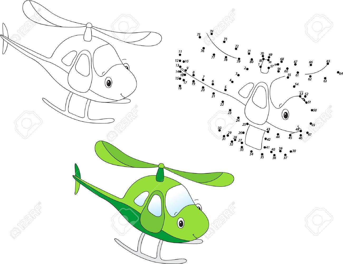 Helicoptere De Bande Dessinee Coloriage Et Point A Point Jeu