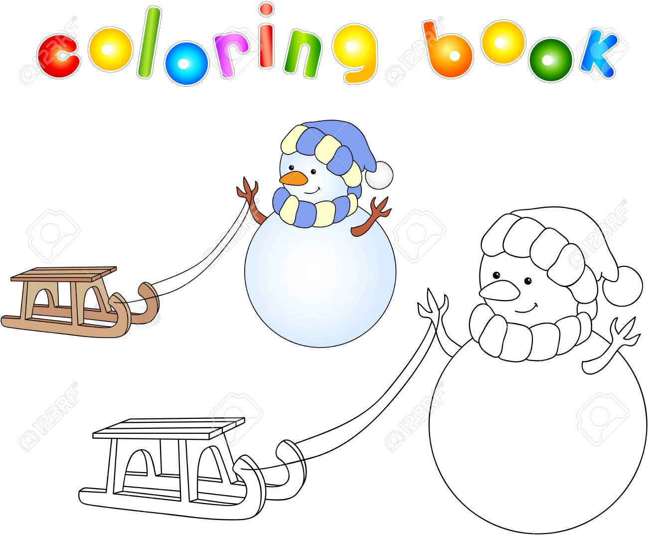 Cute Snowman Dragon With Sled. Educational Coloring Book. Vector ...
