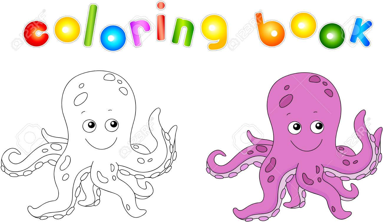 funny and friendly cartoon octopus coloring book for kids royalty