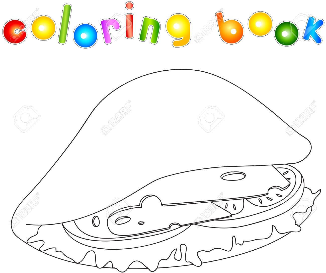 Sandwich Sin Pintar Pitta Con Queso Tomate Carne Y Ensalada Libro Para Colorear Para Los Niños Acerca De La Comida Rápida Ilustración Vectorial