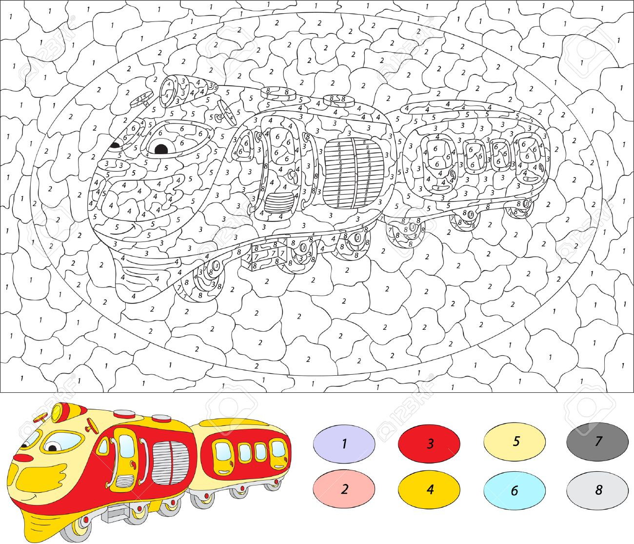 Color By Number Educational Game For Kids. Cartoon Train. Vector ...