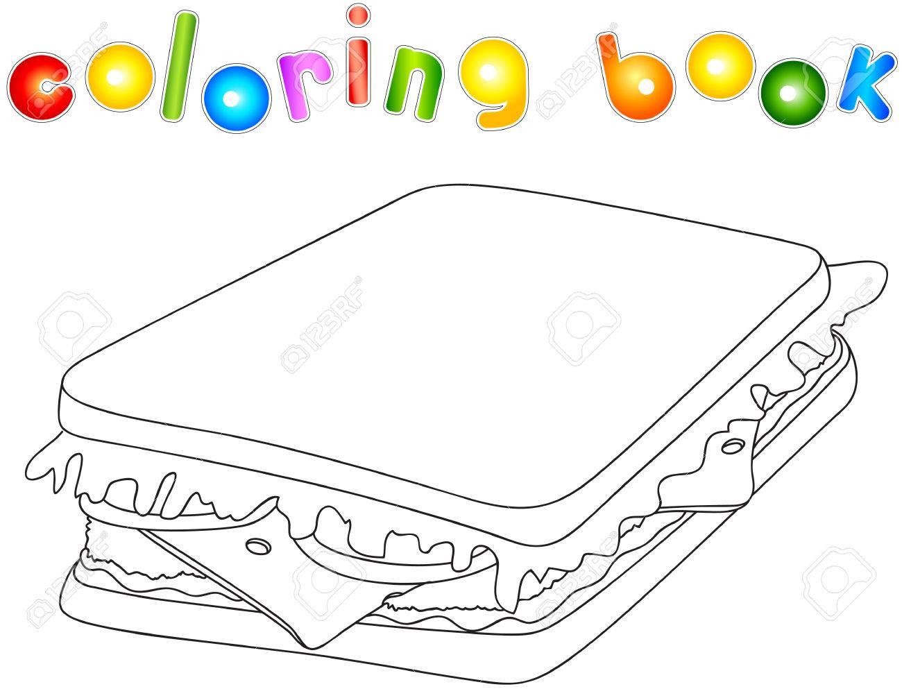 Sandwich Sin Pintar Pan Con Queso Tomate Carne Y Ensalada Libro Para Colorear Para Los Niños Acerca De La Comida Rápida Ilustración Vectorial