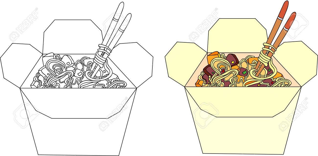 Fideos Chinos En Un Rectángulo Libro Para Colorear Para Los Niños Sobre La Comida Ilustración Vectorial