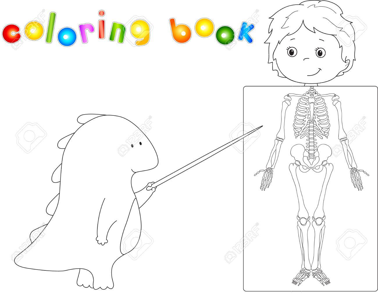Médico Dragón Y Paciente Cuyo Cuerpo Se Muestra En La Radiografía Libro Para Colorear Para Los Niños Acerca De La Anatomía Y La Estructura Del