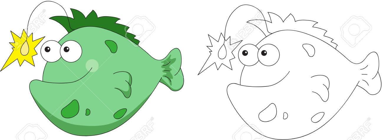 Pescador Divertido Y Amistoso Peces De Dibujos Animados. Libro De ...
