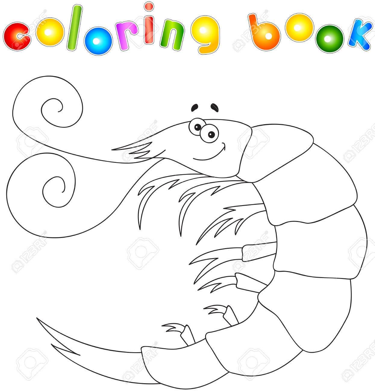 Camarones De Dibujos Animados Lindo Divertido. Libro Para Colorear ...
