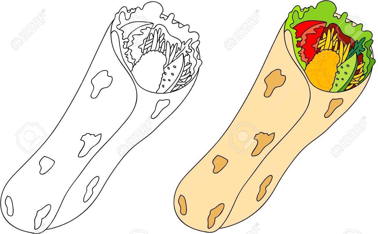 Shawarma De Carne Tomate Cebolla Ensalada Pan De Pita Libro Para Colorear Para Los Niños Sobre La Comida Ilustración Vectorial