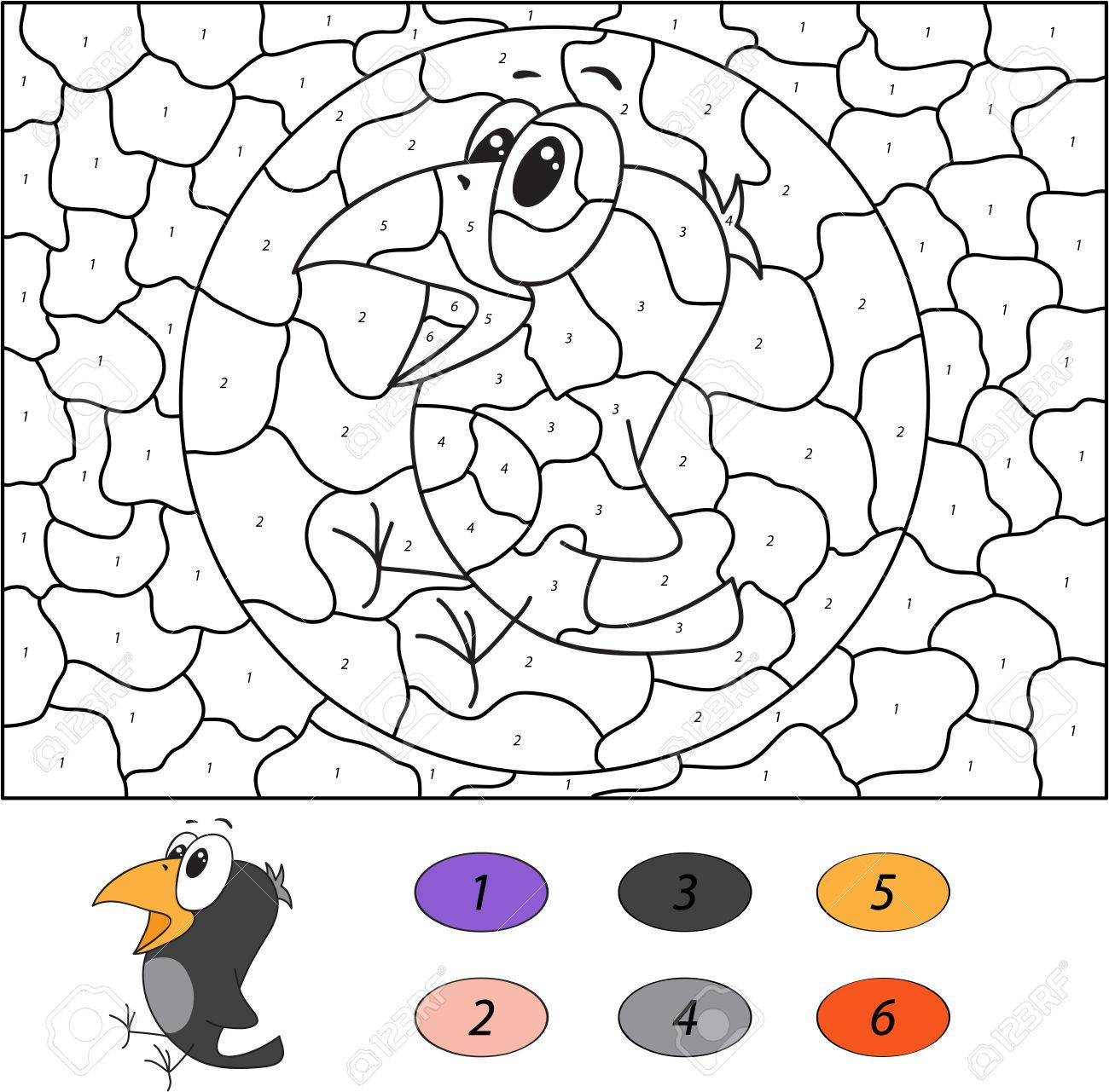 color by number educational game for kids funny cartoon crow
