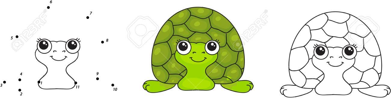 Tortuga Verde Divertido. Ilustración Vectorial Para Los Niños. Punto ...
