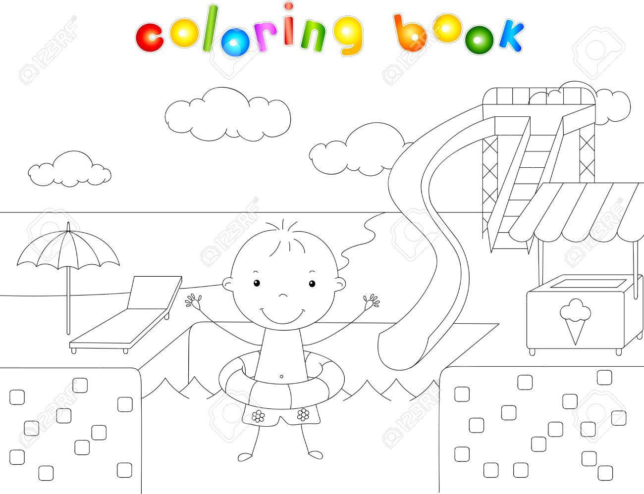 Niño Con Un Anillo De Goma En La Piscina Del Parque Acuático Libro De Colorear Ilustración Vectorial